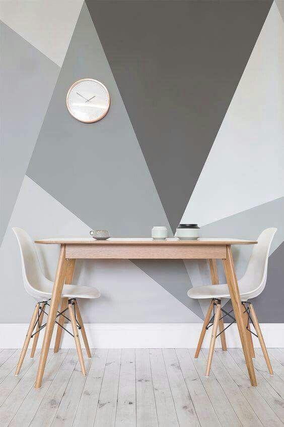 Geometrische vormen op onze u0027lozeu0027 keuken- woonkamermuur GRIJS