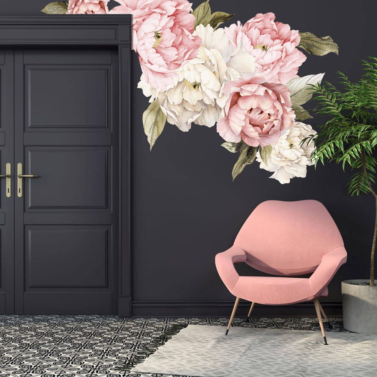 Pfingstrose Aufkleber - Floral Wall Decals Aquarell Pfingstrose große selbst Klebstoff Wallpaper - Tapete Wandbild - schälen und Stick-Wandtattoo #setinstains