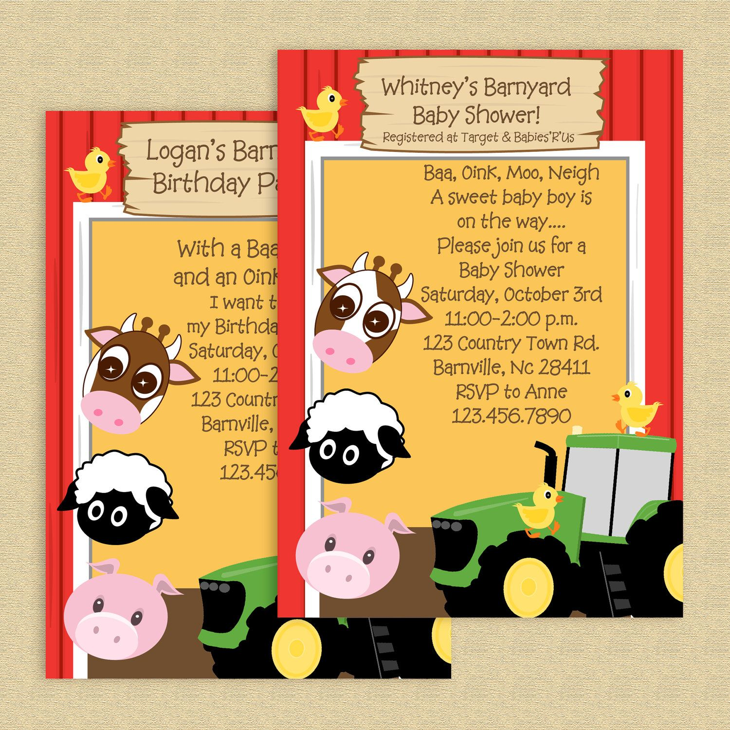 Down on farm barnyard baby shower invites Traveling zoo