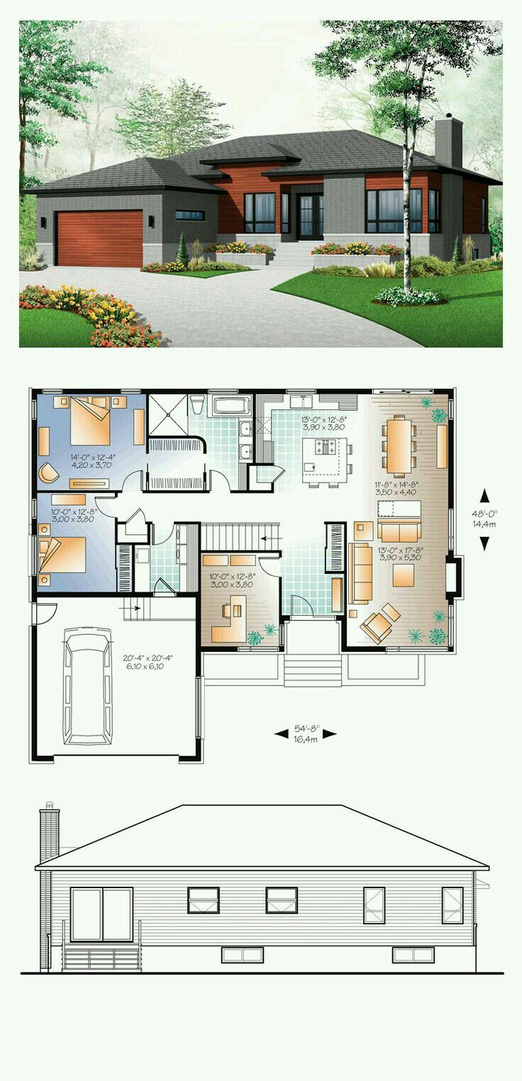 Pin by gloire masibu on plan maison pinterest ground for 3 bedroom contemporary house plans