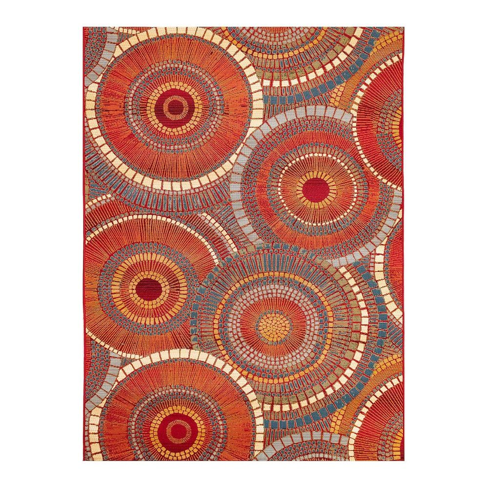 Liora Manne Marina Circles Indoor Outdoor Rug Orange 5x7 5 Ft In