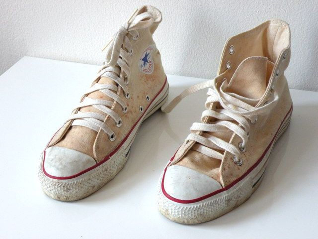 SALE-Vintage 70s Converse All Star Chuck Taylor High Top Mens Size 7 Made in  USA Beige