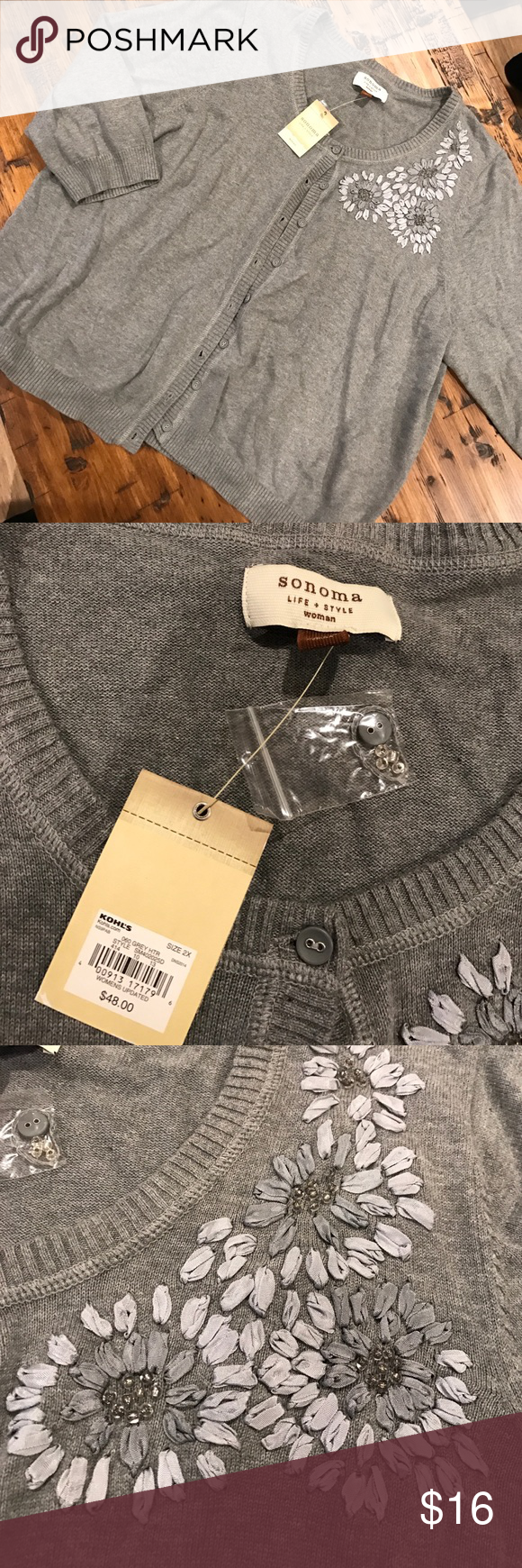 Sonoma XXL grey cardigan sweater Brand new with tags. Just needs to be washed from sitting in storage Sonoma Sweaters Cardigans