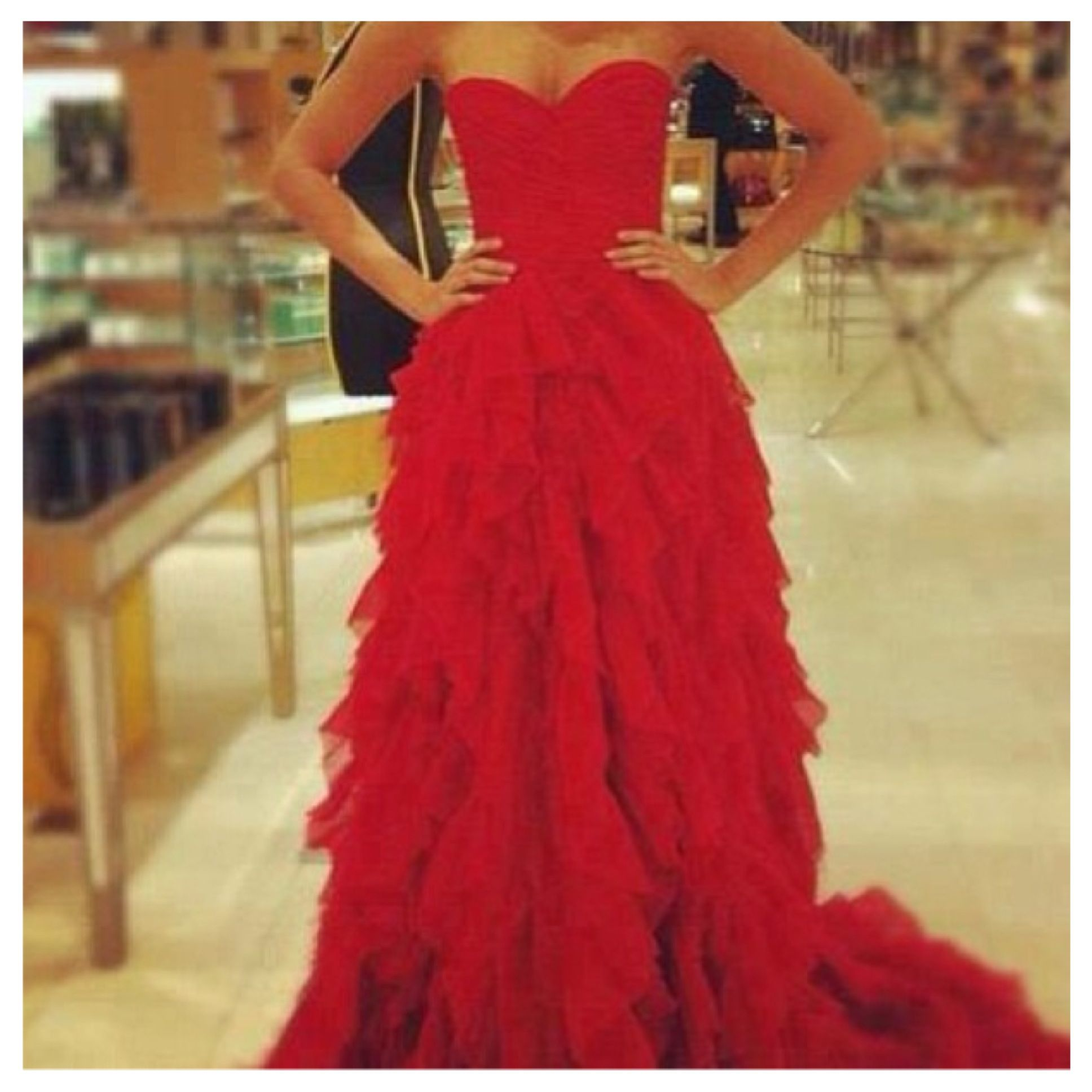 Red ruffled dress this is what i want for the ball fashion