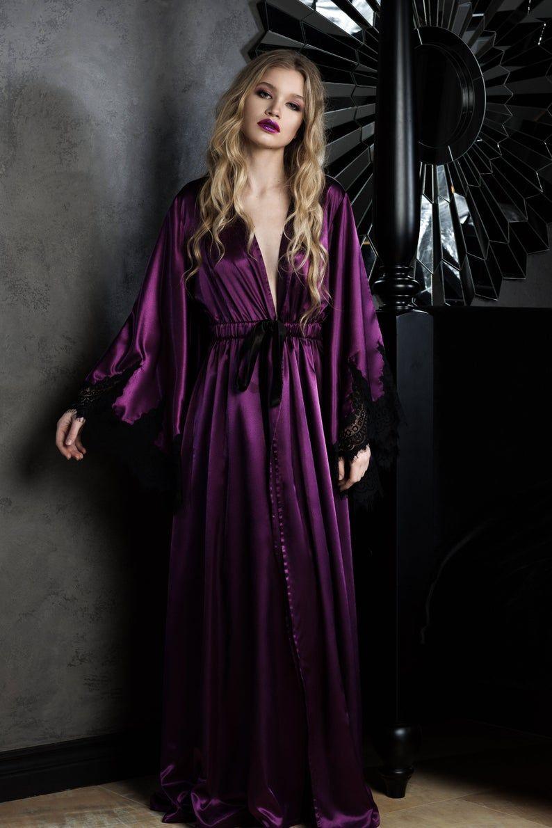 Old hollywood robepurple pagan robelong silk burlesque