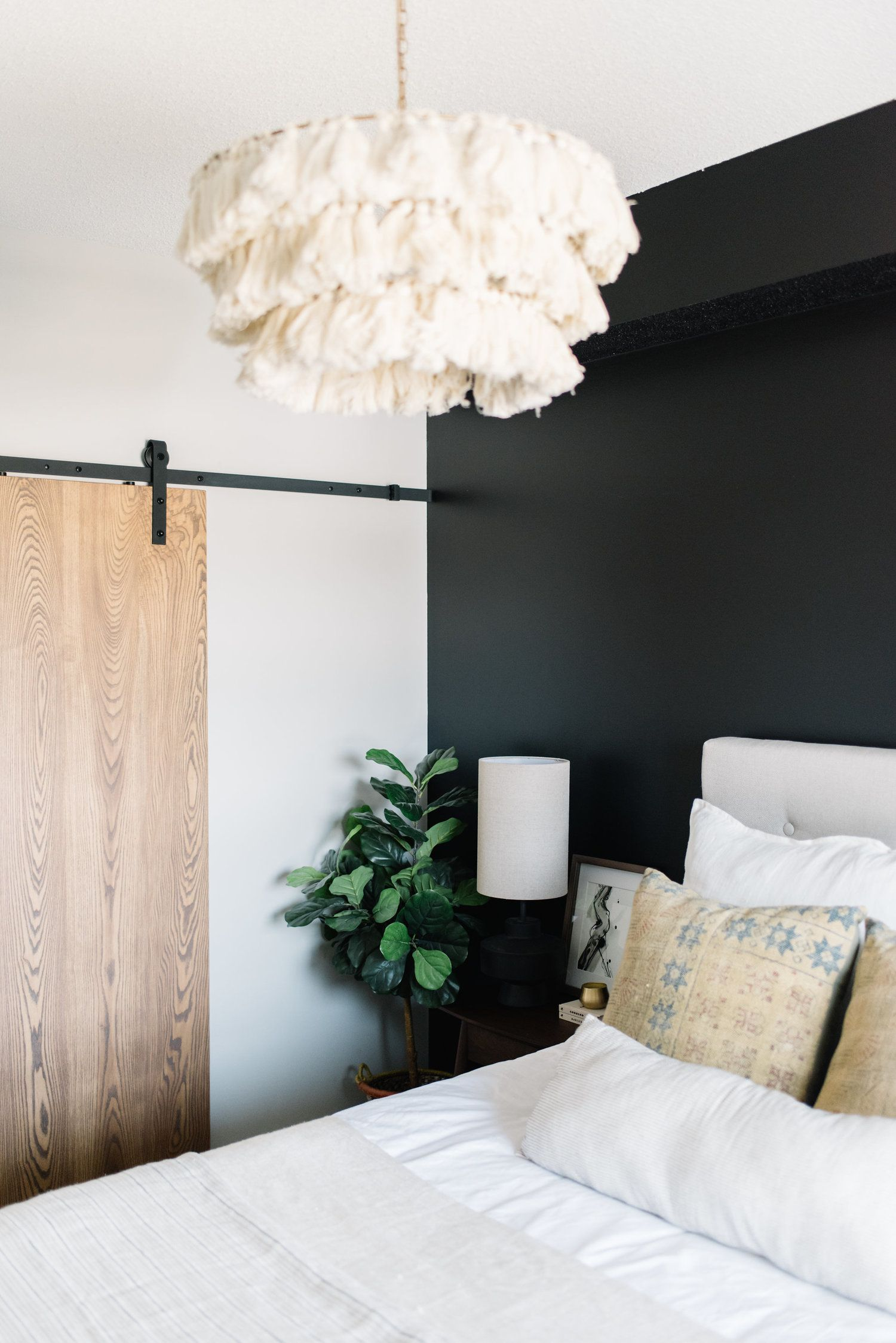 Modern Bedroom With Black Wall Black Accent Walls Accent Wall