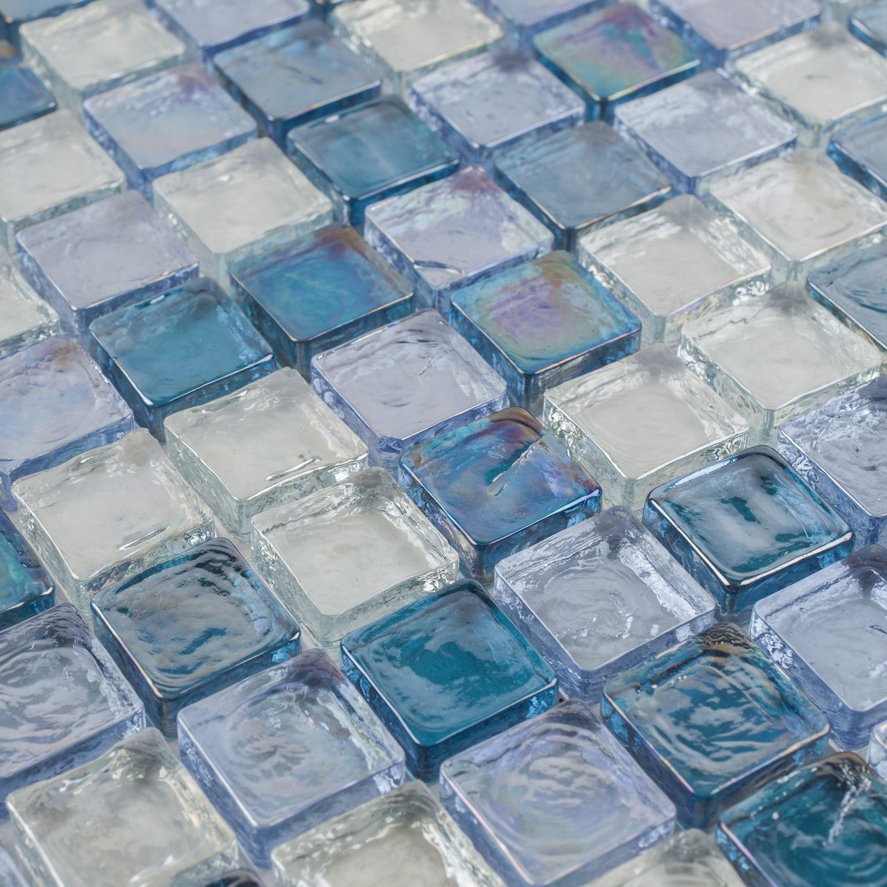 Iridescent Glass Mosaic Tile Pale Blue Blend 1x1 - Angle | project ...