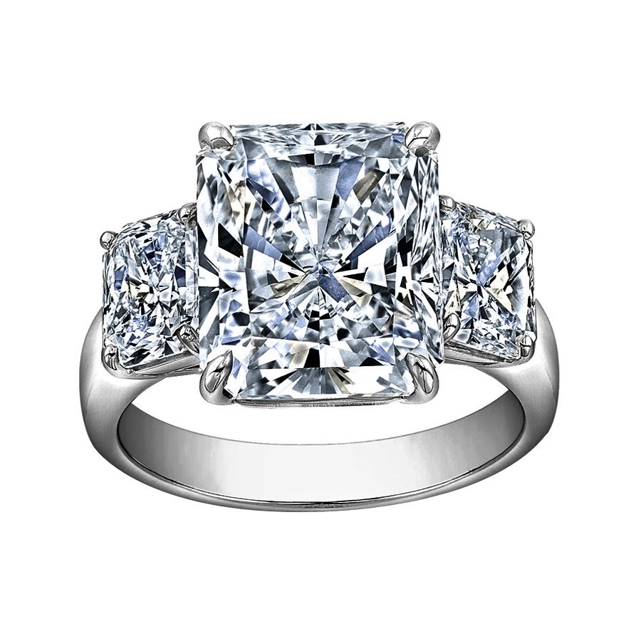 carat radiant cut diamond engagement ring love the clean lines