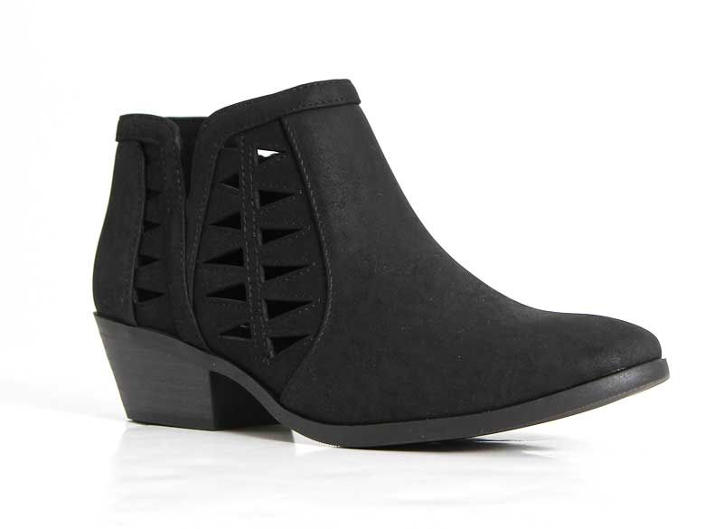 3d20815dd70 Soda Shoes Chance Ankle Booties with Cutouts in Black CHANCE-BLK ...