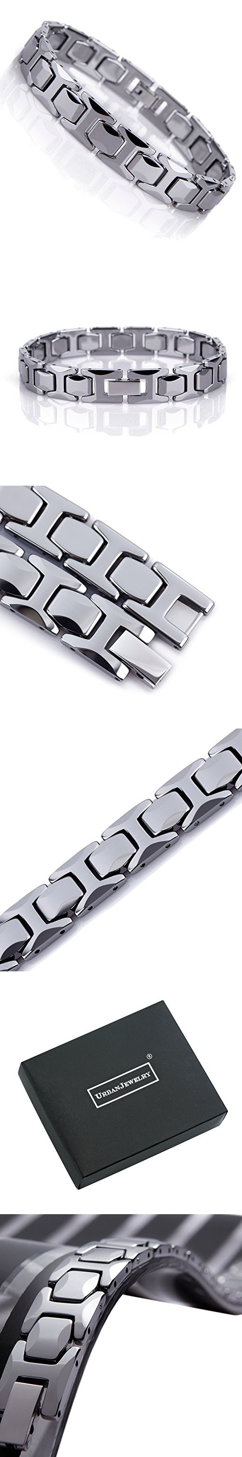 Stunning solid tungsten link bracelet for men polished pyramid style
