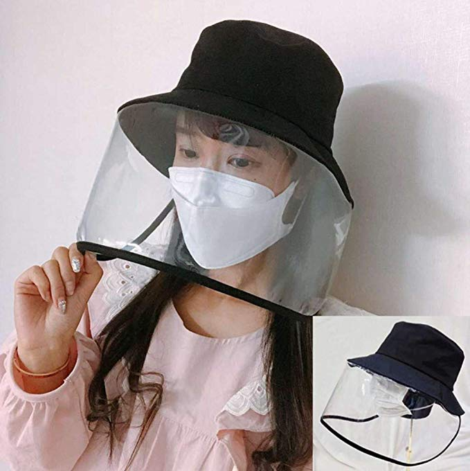 Protective Bucket Hat Anti Spitting and Anti Saliva Fog Dust UV Sun Full Protective Hat Cover Outdoor Fisherman Hat Adjustable Size for Men and Women