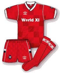 The World XI kit for the Football League Centenary match at Wembley in Aug 1987.