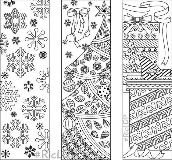 9 christmas coloring bookmarks 6 designs with by ricldpartworks more