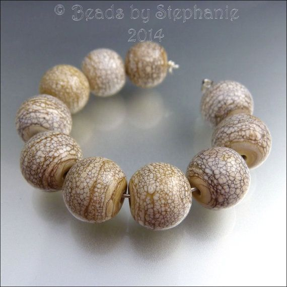 CRACKLING IVORY  Round Glass Beads Lampwork by beadsbystephanie, $42.00