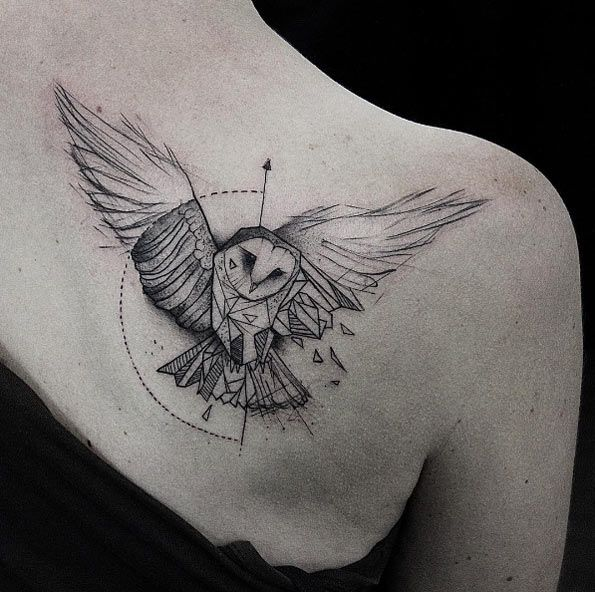 Geometric Owl Tattoo By Kamil Mokot Geometric Owl Tattoo Owl Tattoo Design Geometric Owl