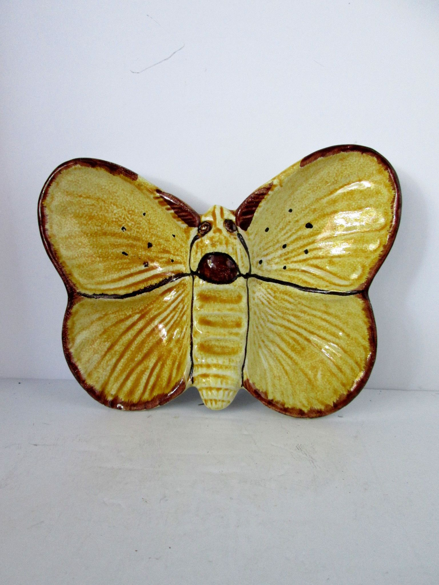 Ceramic hand painted butterfly ceramic yellow and brown Fantoni ...