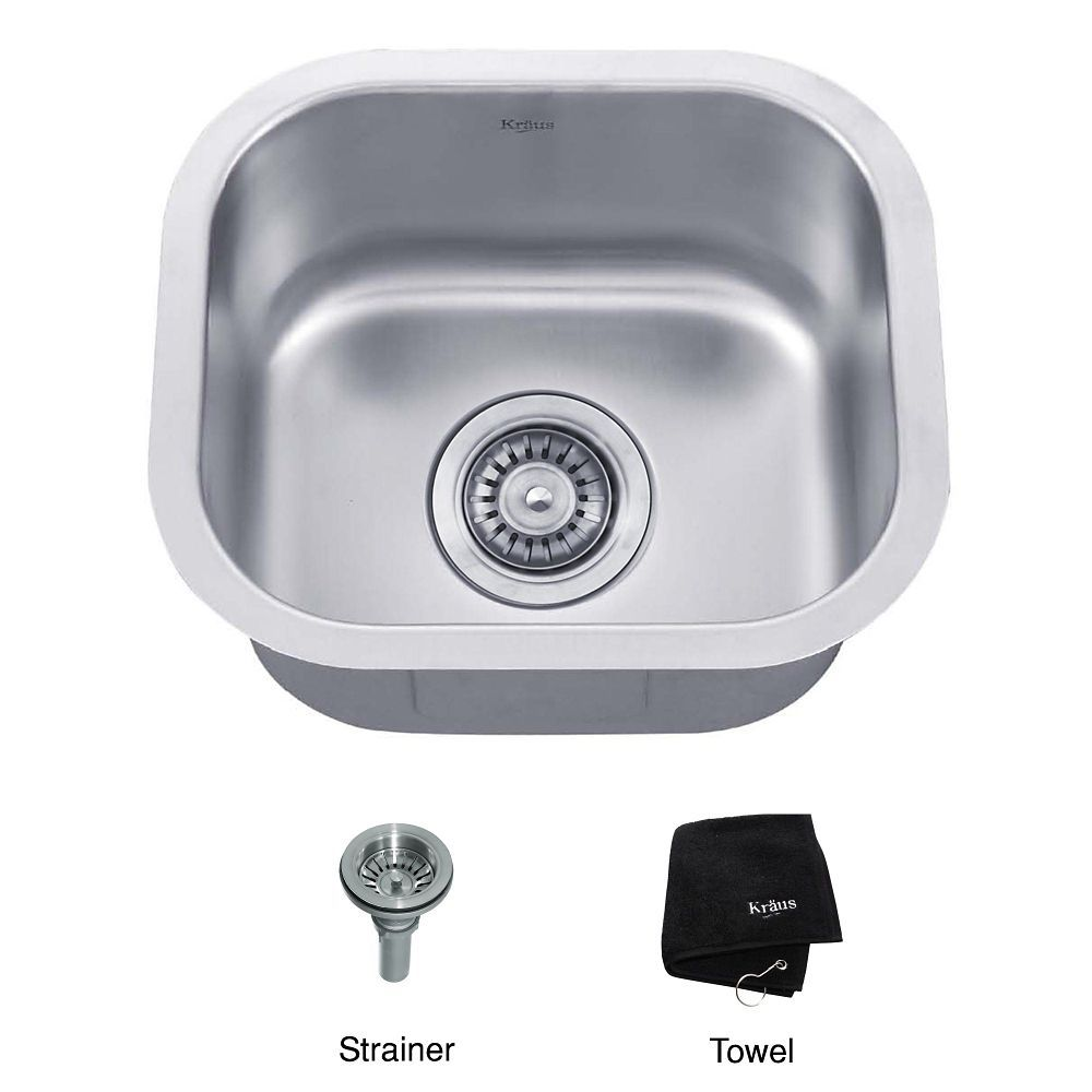 15 Inch Undermount Single Bowl 18 gauge Stainless Steel Kitchen Sink ...