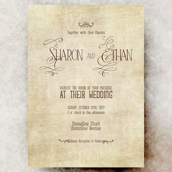 Rustic Wedding Invitation -  Vintage Wedding Invitation, Shabby chic invitation, Printable invitation
