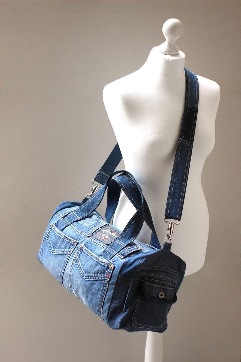 Photo of Denim bag, Recycled denim, Big bag, Casual bag, Sport bag, UNISEX BAG, Upcycled Denim Bag, Upcycled Jean Bag, GAMMAstudio, Code: Den-03