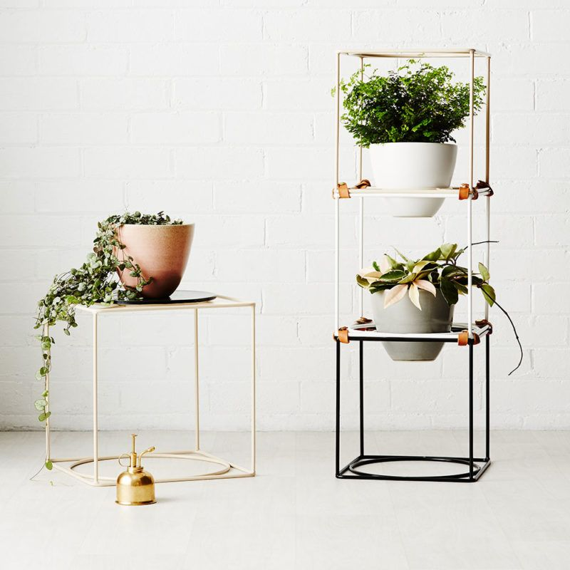 Modern Ivy Muse Cubby Junior Plant Stand   White Steel Metal