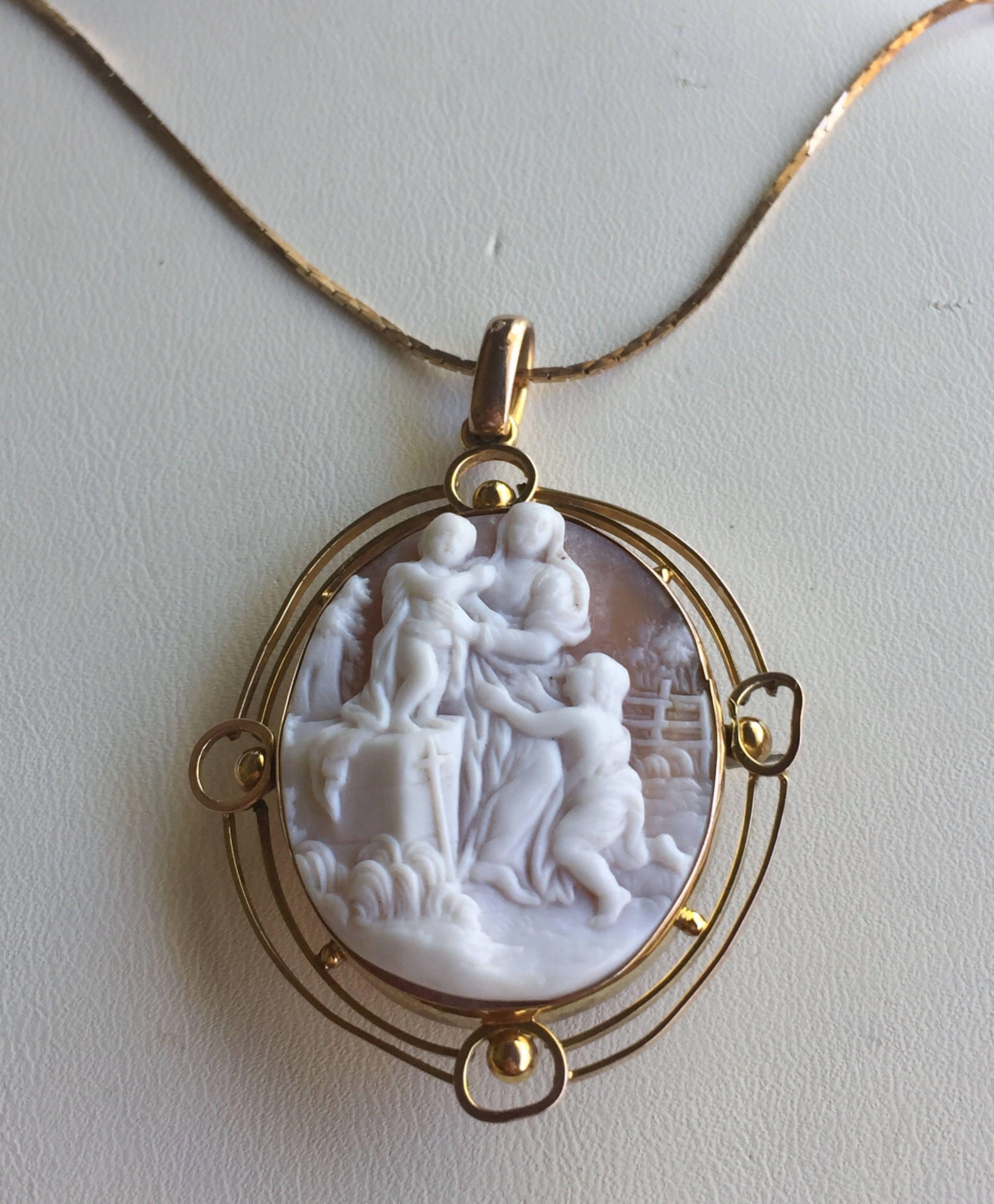 Victorian gold cameo pendant brooch rare biblical scene by victorian gold cameo pendant brooch rare biblical scene by victoriansentiments on etsy aloadofball Images