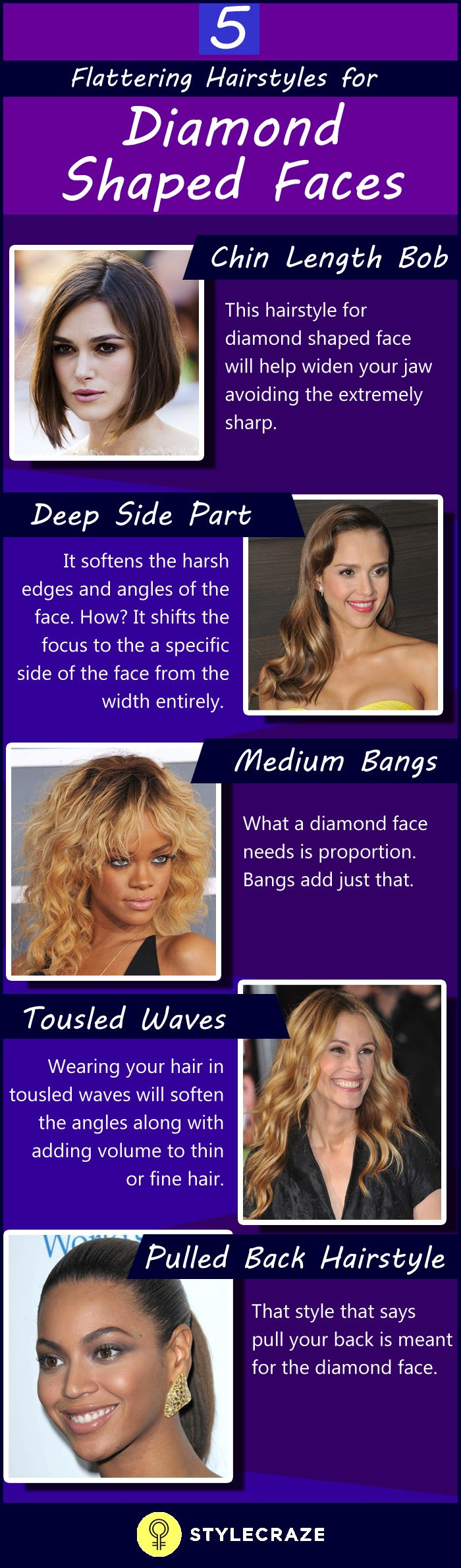 30 stunning hairstyles for diamond faces | truely beautiful