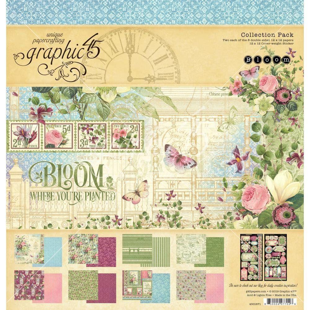 "Graphique 45 Double-Sided Paper Pad 12/""x12/"" 16//pkg 8 Designs//2 Chaque Bloom"