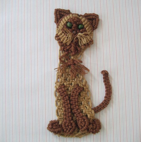 vintage 1970s macrame cat wall art 70s wall hanging mcm by on macrame wall hanging id=86303