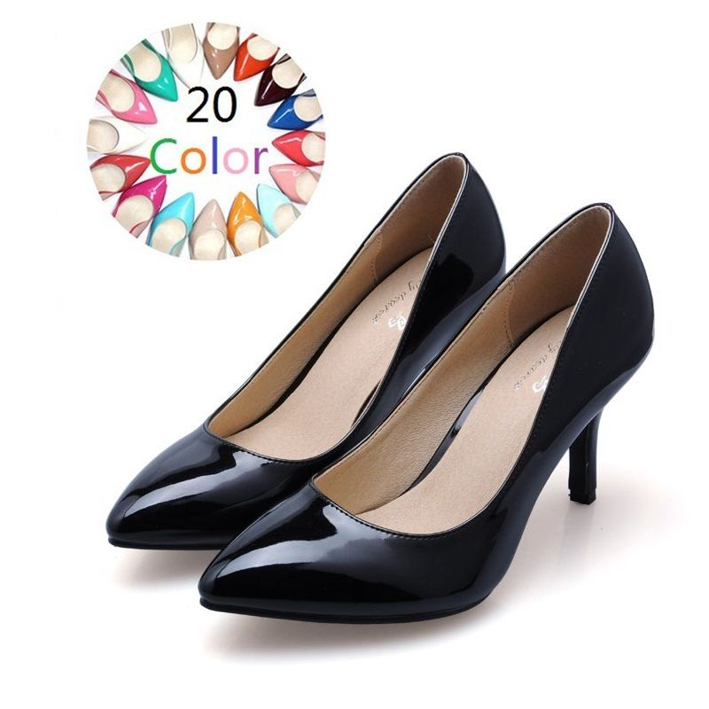 2017 Size 34-41 Sheepskin Patent Leather Women s High Heels Women Pumps  Sexy Bride Party Thin Heel Ladies Shoes Woman 55897eaaba7d