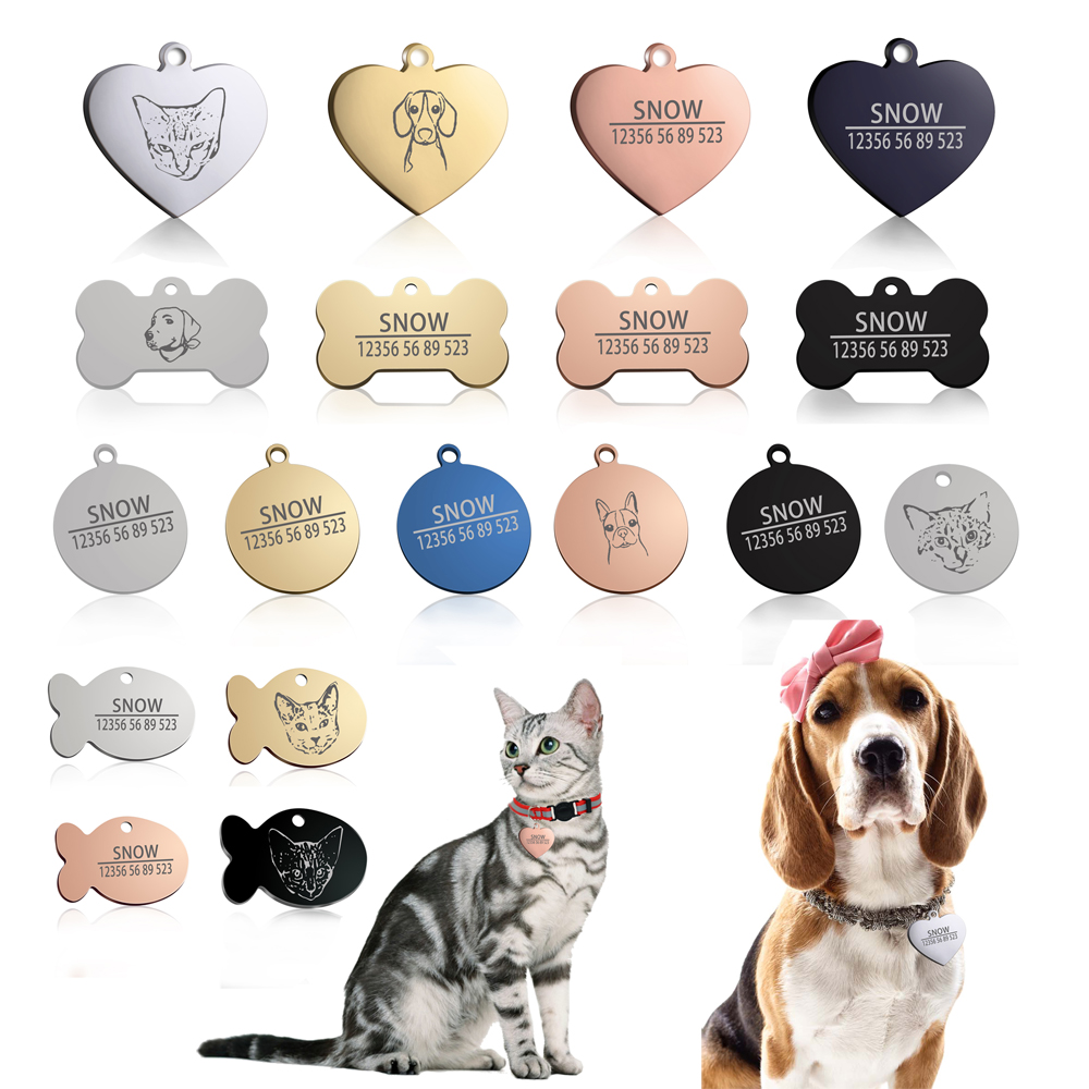 New 1pcs Cat Dog Id Tag Free Engraving Dog Collar Pet Charm Pet Name Pendant Bone Necklace Collar Puppy Cat Collar Accessory Dog Id Pet Id Tags Dog Id Tags