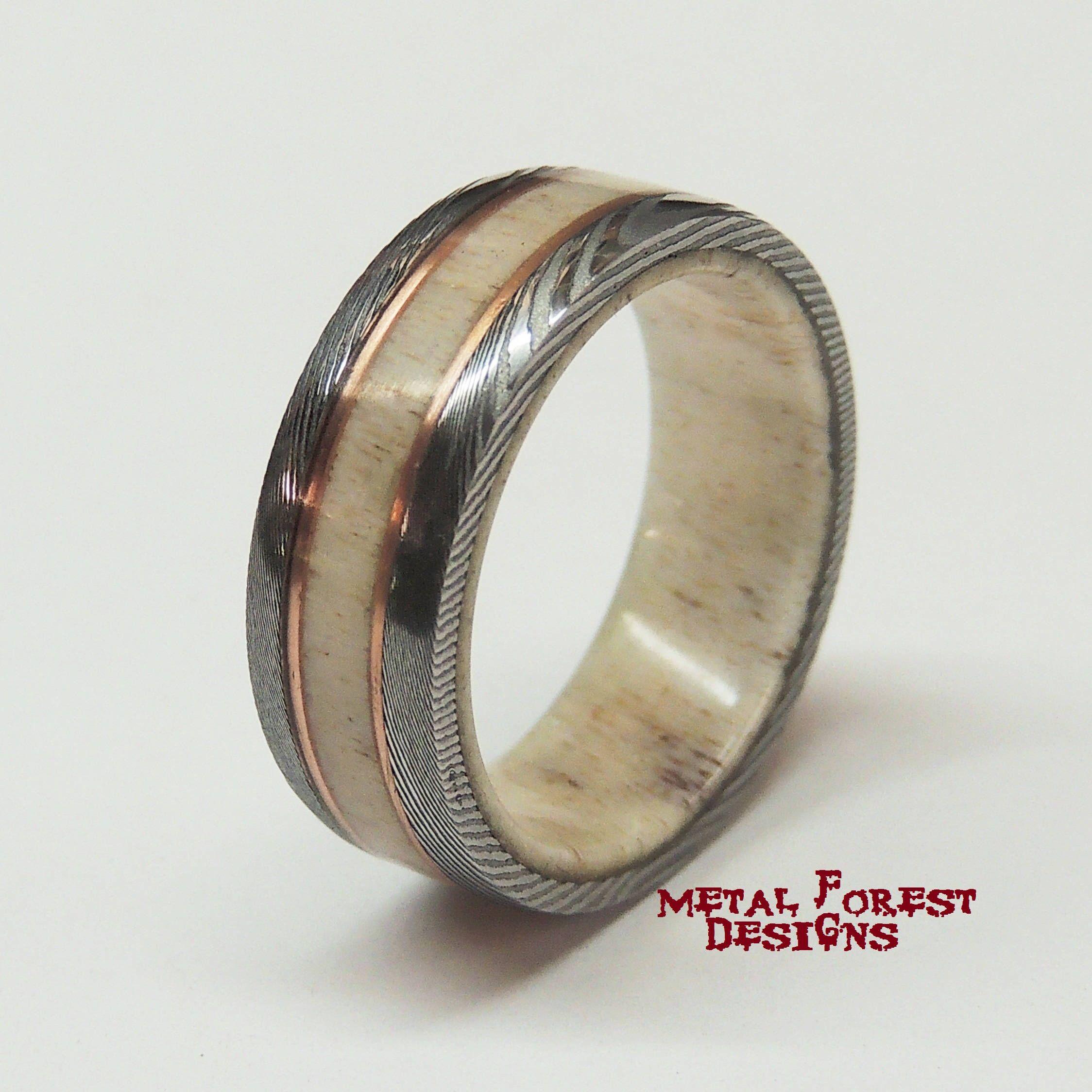 Stainless Damascus Steel Antler and Copper Ring, Sale Price Marked ...