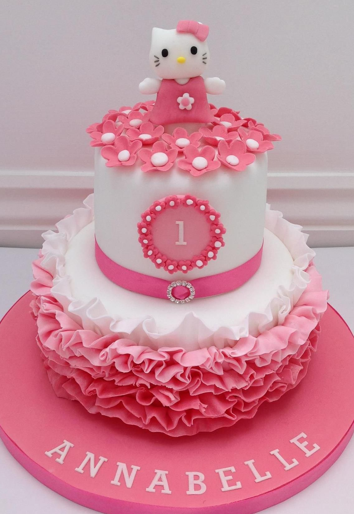 A Hello Kitty Pink Ombre Ruffles Cake by Fancy Fondant ...