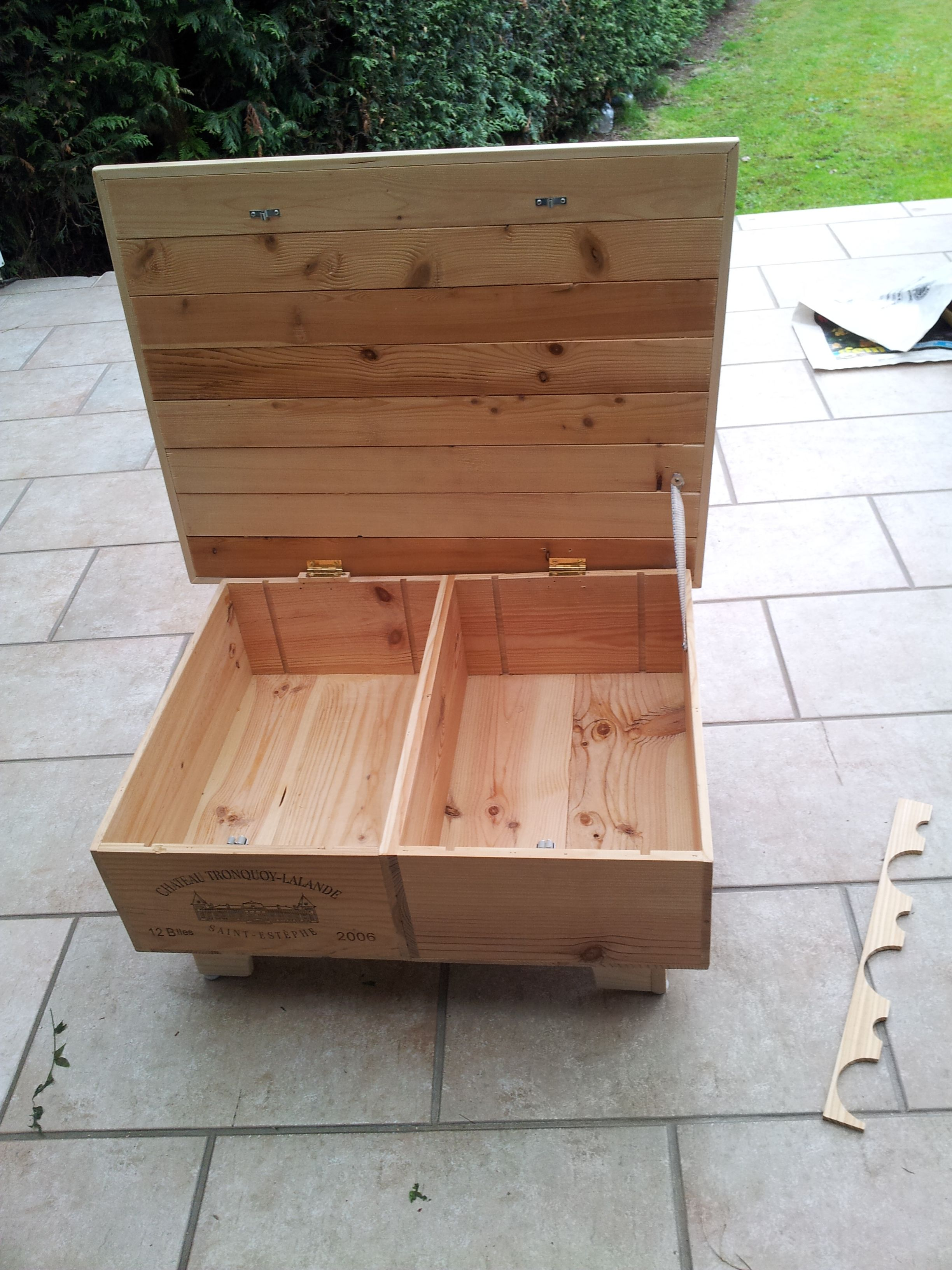 Upcycled Wine Box Into Coffee Table With Pallet Top