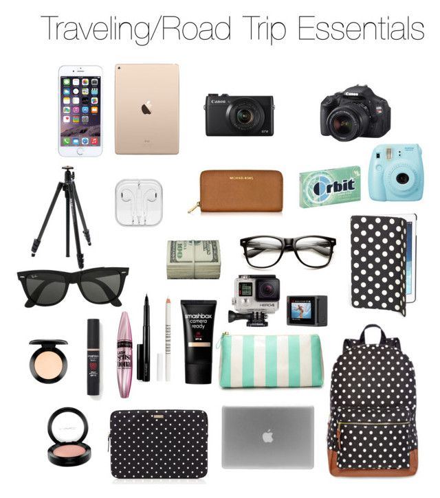 """Traveling/Road Trip Essentials"" by beautygurl-98 ❤ liked on Polyvore featuring Olsenboye, Kate Spade, Forever 21, MAC Cosmetics, Lord & Berry, Maybelline, Smashbox, Ray-Ban, Michael Kors and INC International Concepts"