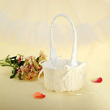Ivory Satin Ribbon Wedding Flower Basket With Floral Embroidery