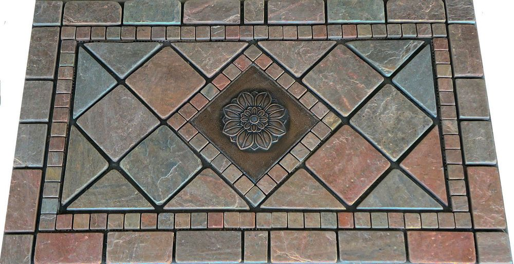 18x30 Questech Tumbled Copper Slate Mosaic Tile Marble Medallion Design Backspla Jdyerhandcrafted Mosaic Flooring Marble Medallion Foyer Tile Ideas