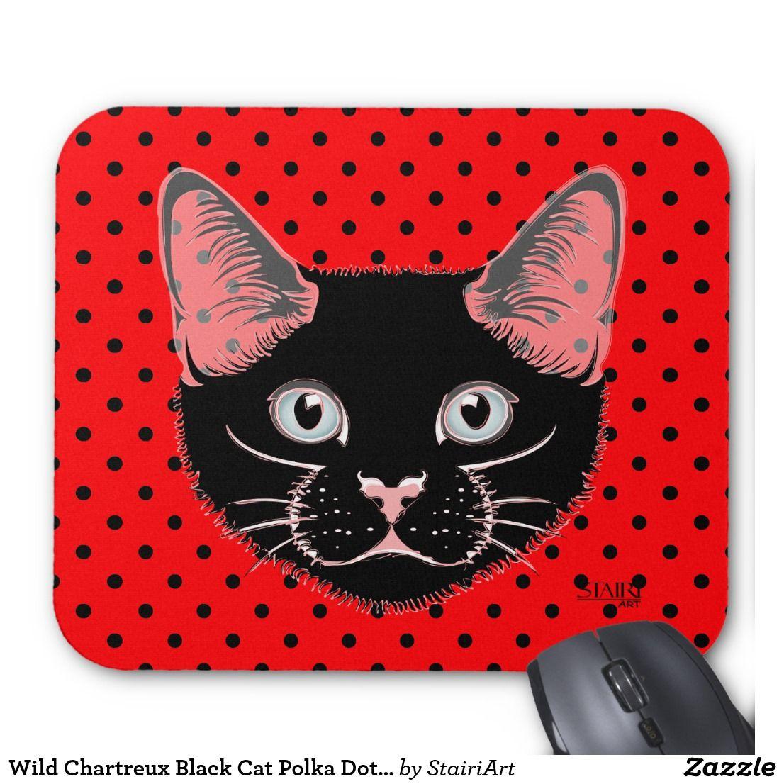 Wild Chartreux Black Cat Polka Dot Mouse Pad