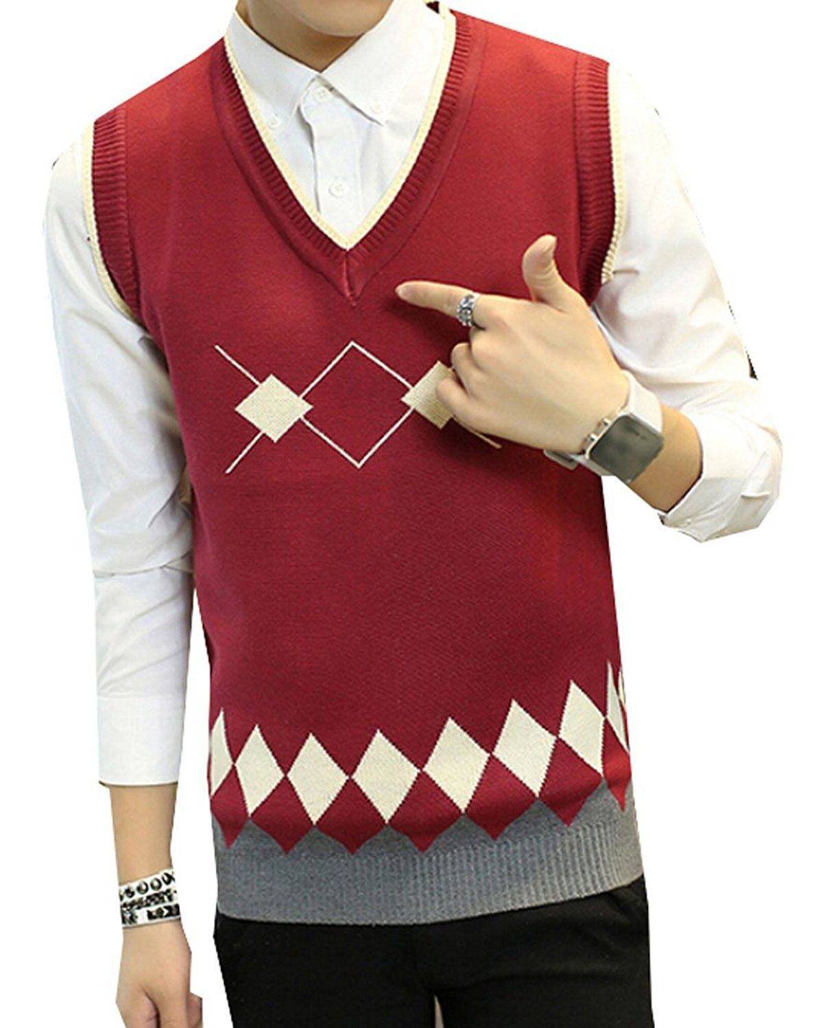 GAGA Men Casual Slim Fit V-Neck Sweater Vest | Men's Sweaters ...