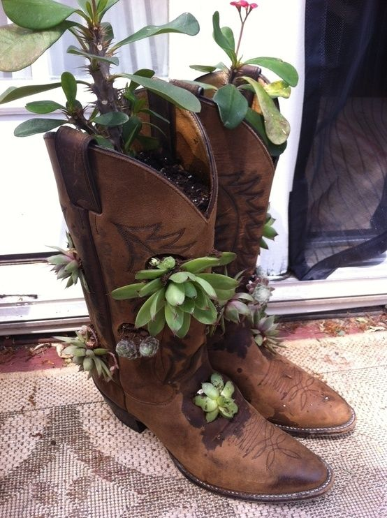Cowboy Boot Planter Garden Art Crafts Cowboy Boot Crafts Old
