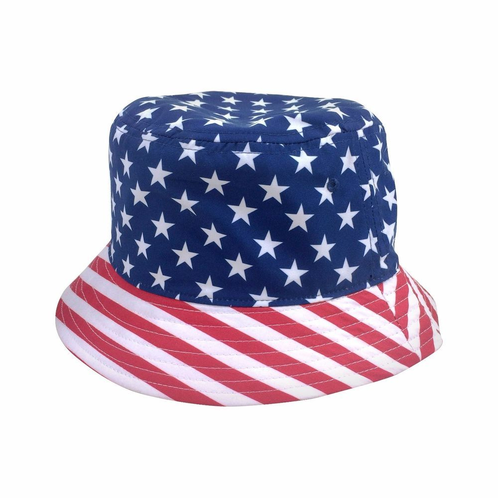 365d2c8657f Mens Patriotic Bucket Hat Stars and Stripes American Flag One Size   ConceptOne  Bucket