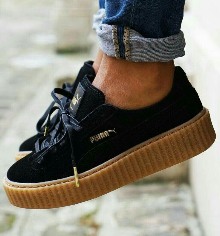 black puma platform sneakers