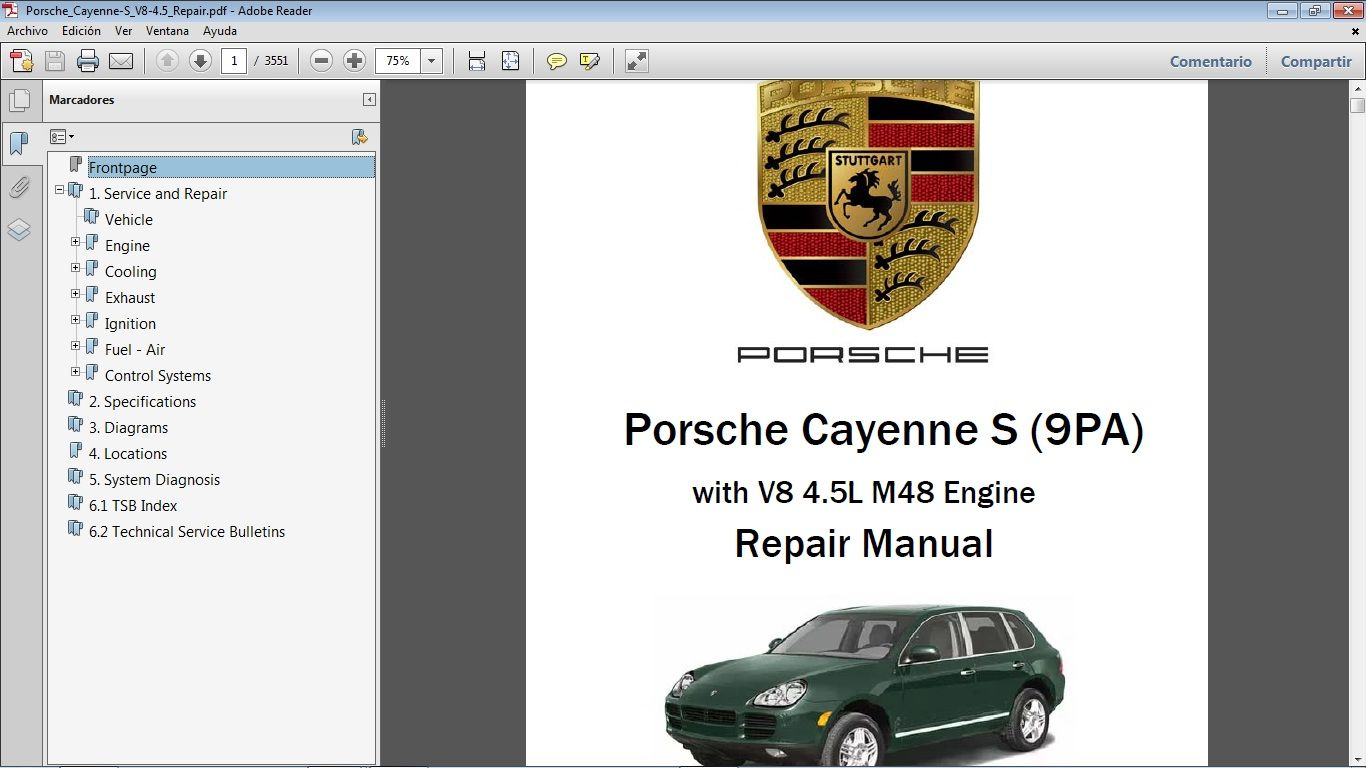 Porsche Cayenne S 9pa 4 5 Workshop Repair Manual Manual De Taller Porsche Modelos Manuales De Reparacion Porsche Cayenne