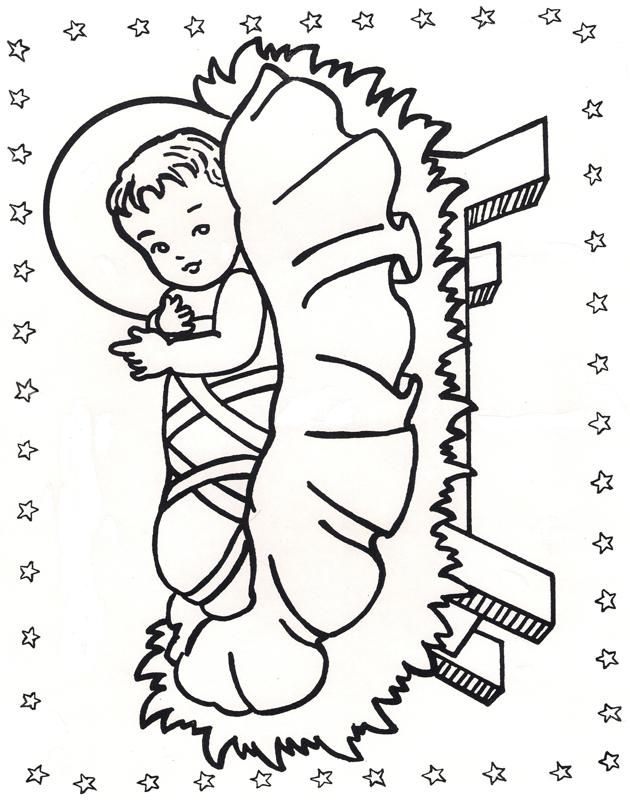 """Sweet Baby Jesus - to color and use for manger that children fill with straw for their good deeds during Advent."""