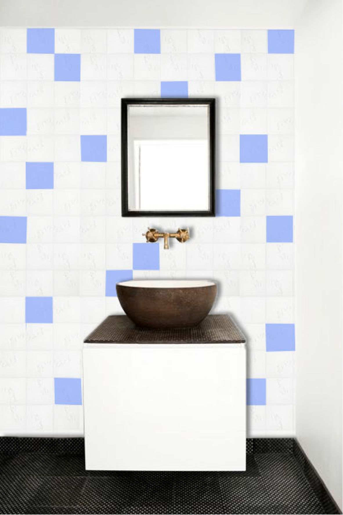 Visualisation of tex-tiles in bathroom with washbasin #tiles #transparant #white #translucent #porcelain #15x15 #bathroom #textiles #wall #decoration #led #imprint #relief #barbaravos #wallcovering #kitchen #shower #home #interior #design #glaze #backsplash #flower #pattern #coral #fabric