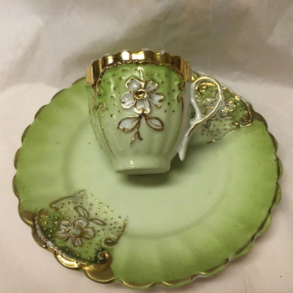 Antique Demitasse Cup Highly Textural Sea Foam Green Porcelain | eBay