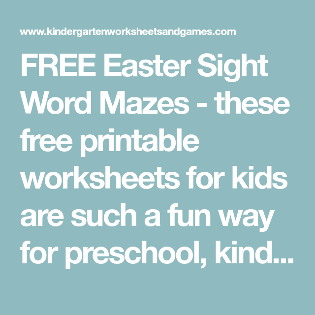 FREE Easter Sight Word Mazes - these free printable worksheets for ...