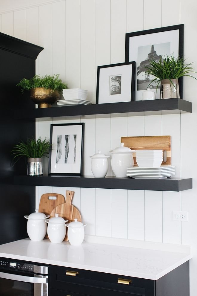Floating Shelves Black Floating Shelves agains ver... - #agains #Black #floating #shelves #shiplap #Ver #floatingshelves