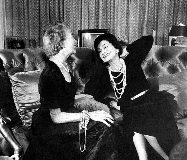 January 1953    		Harper's Bazaar's Mrs. Carmel Snow (L) chatting with Gabrielle Chanel  (R).