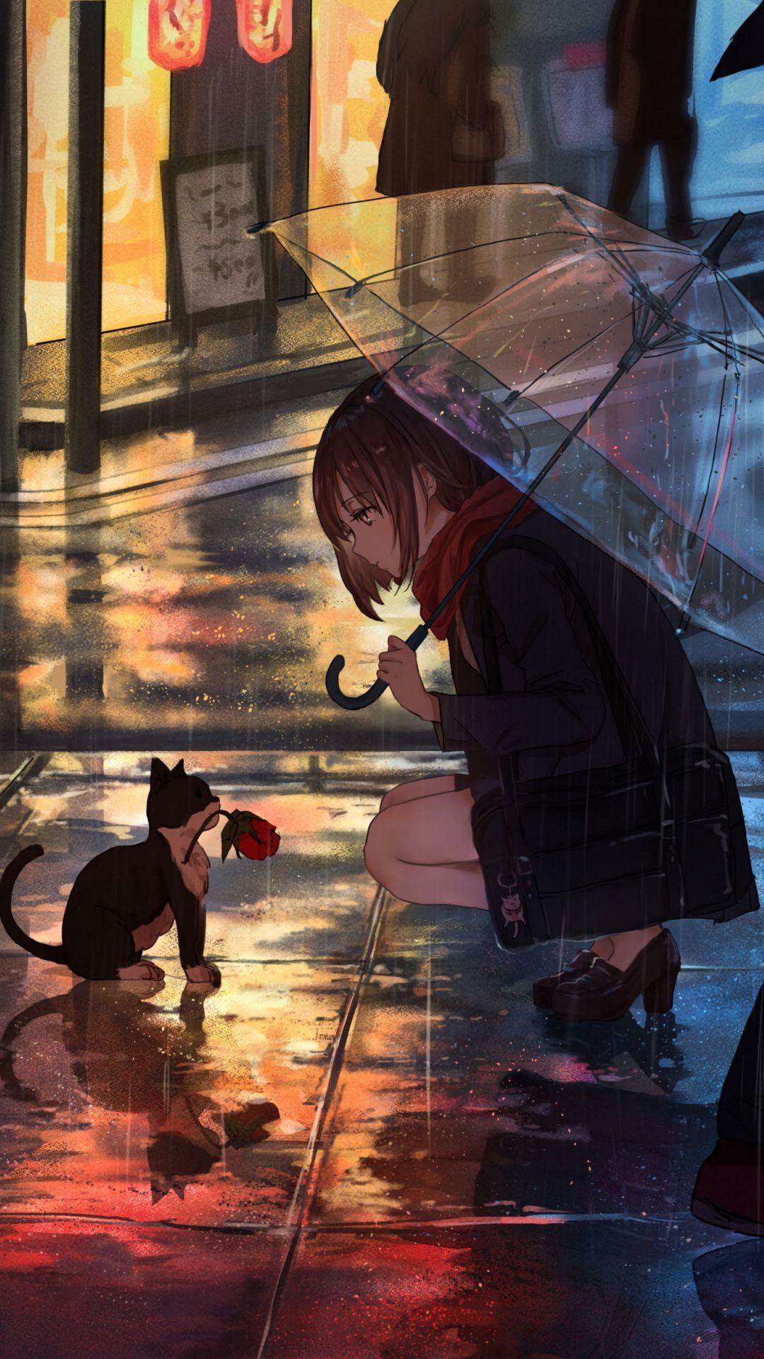 Download wallpaper 1080x1920 girl, kitten, flower, anime, street, rain samsung galaxy s4, s5, note, sony xperia z, z1, z2, z3, htc one, lenovo vibe hd background
