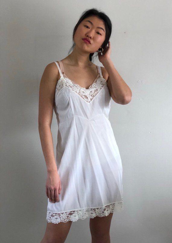 dcdaa2231 70s white lace full slip dress   lacey satin slip dress   vintage lace  ribbon straps slip dress